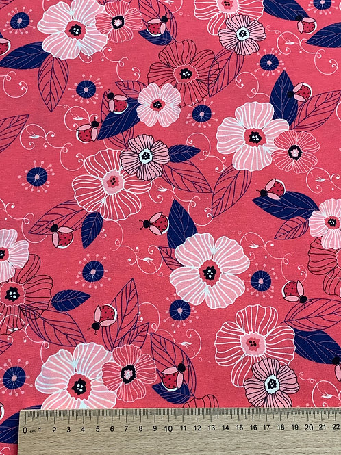 Ladybug coral flowers cotton jersey
