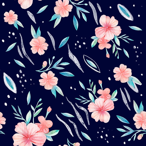 Apricot flowers on navy
