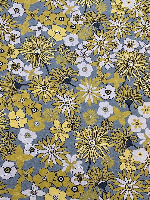 Yellow grey flowers cotton jersey