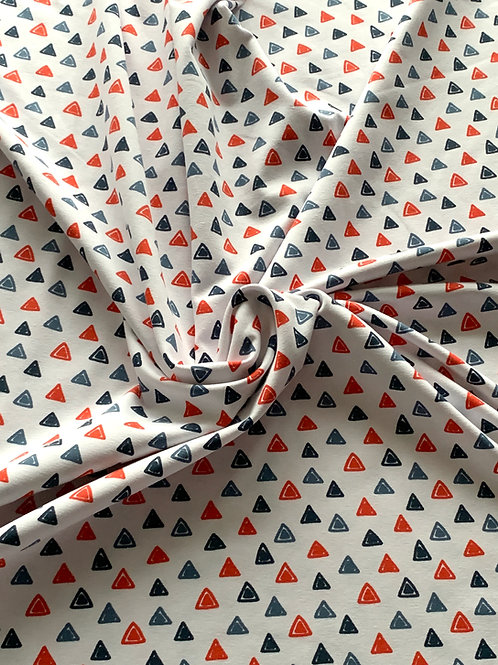 Triangles on white cotton jersey