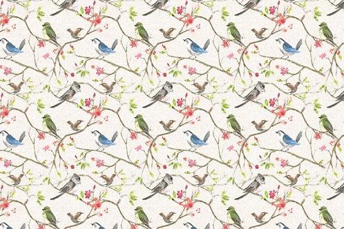 Spring birds on linen cotton jersey