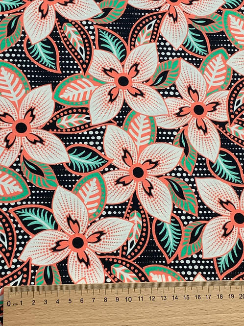 Large apricot turquoise flowers cotton jersey