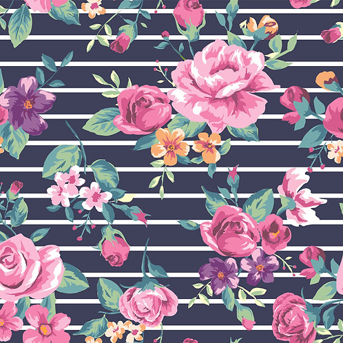 Navy striped roses