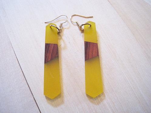 "yellow ""seaglass"" wood & resin drop earrings"