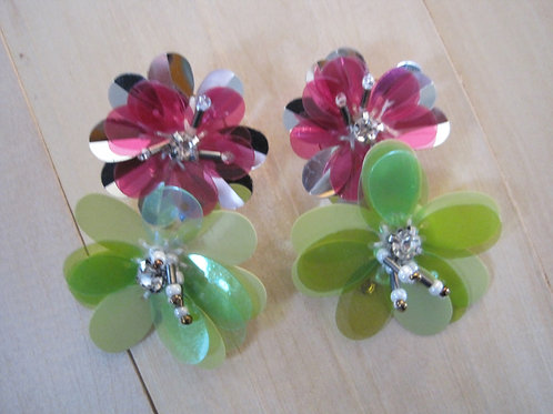 irridescent double drop floral mylar earrings