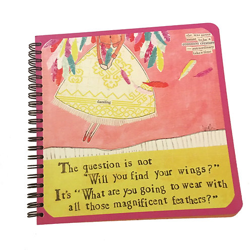 """curly girl """"will you find your wings?""""spiral journal"""