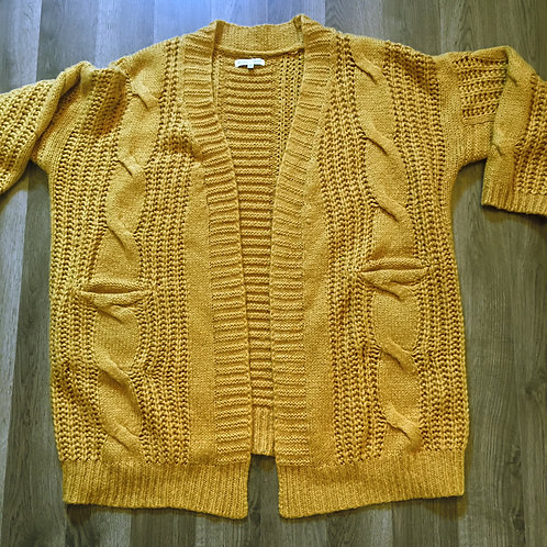 woven heart oversized mustard yellow cardigan M L XL