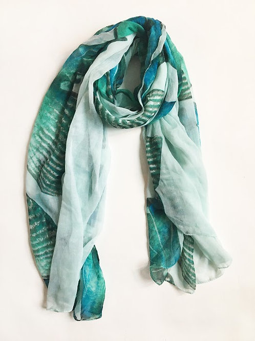 teal green abstract butterfly print scarf