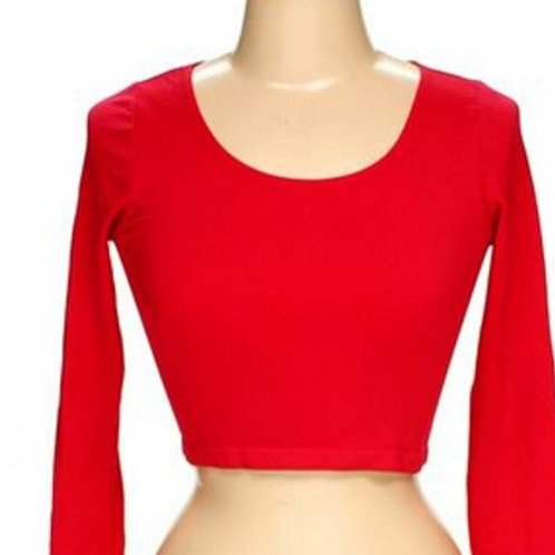forever 21 red spandex cropped long sleeve top M