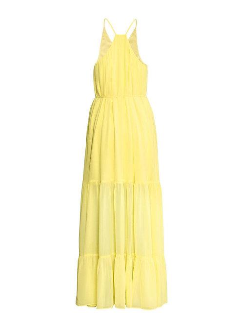 NEW! h&m yellow chiffon tiered maxi dress 6 S