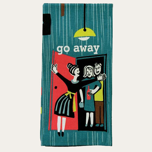 go away hostess dish towel