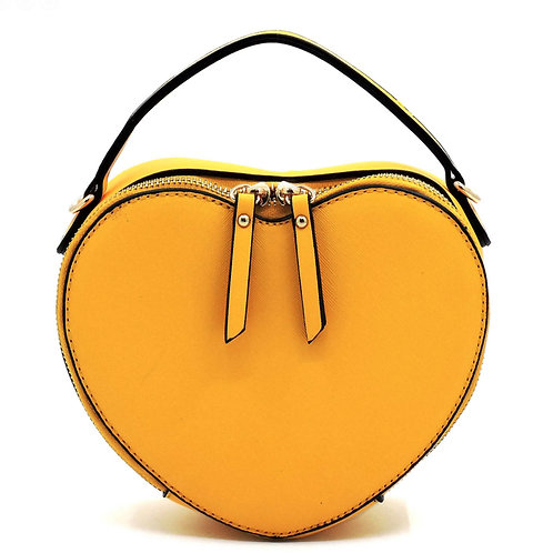 lemon yellow heart shape crossbody bag purse