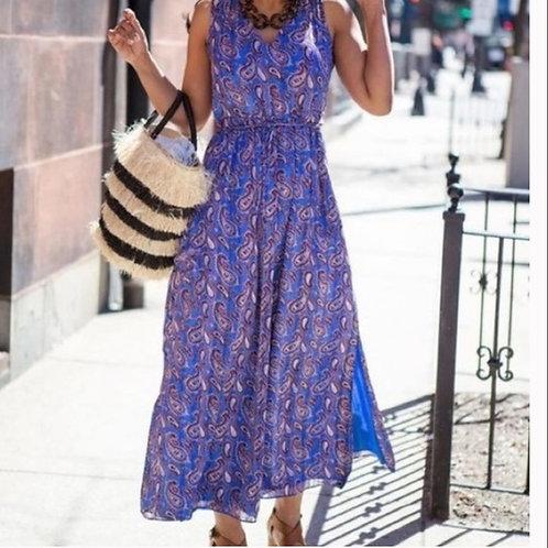 banana republic blue paisley maxi dress with pockets M