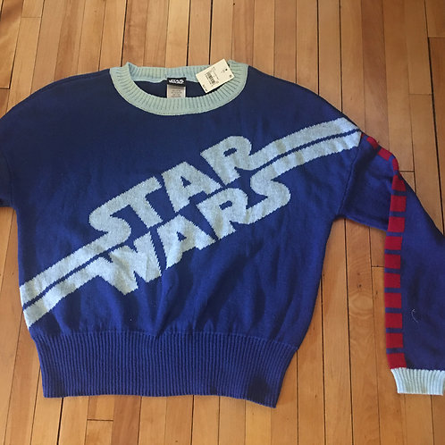 NEW! star wars blue knit sweater S