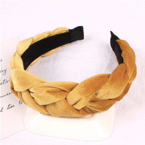 mustard golden yellow velvet braided headband crown