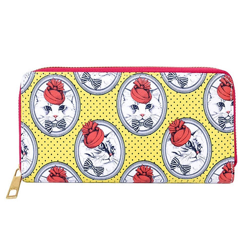 vintage kitty cat cameo zipper wallet yellow