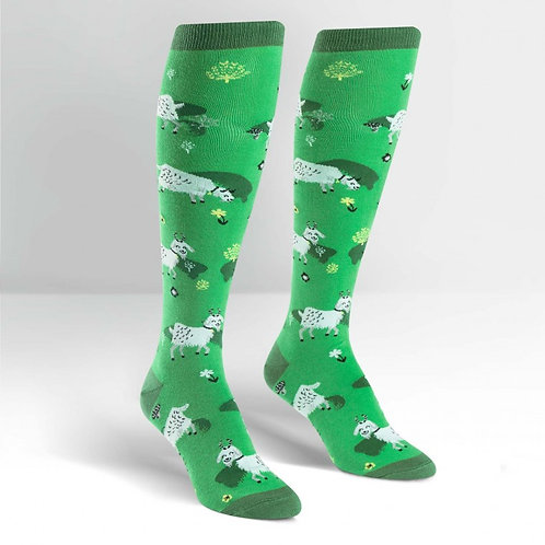 green happy grazing goats knee socks