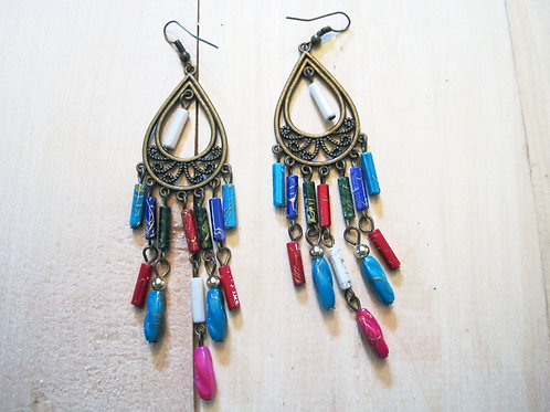 teardrop multicolor chandelier hoop dangle earrings