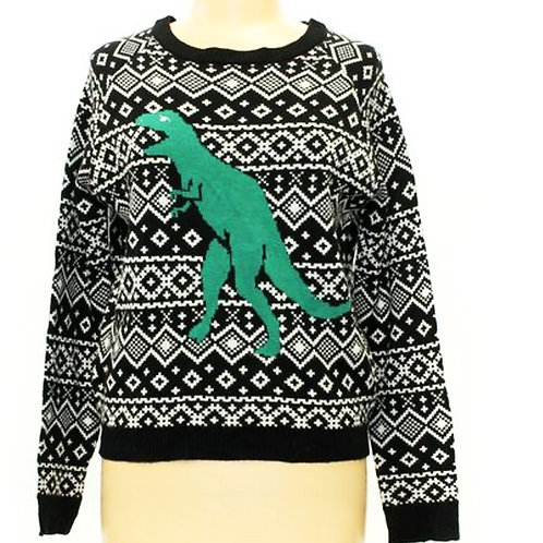 love by design fair isle DINOSAUR sweater S/M