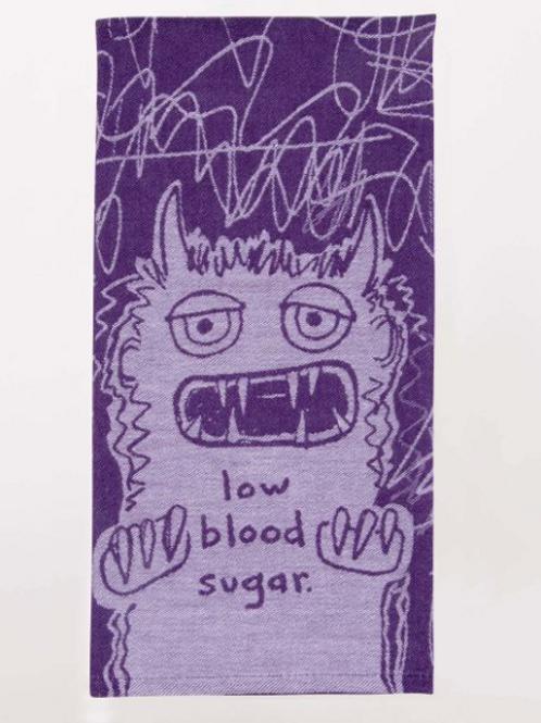low blood sugar monster purple dish towel