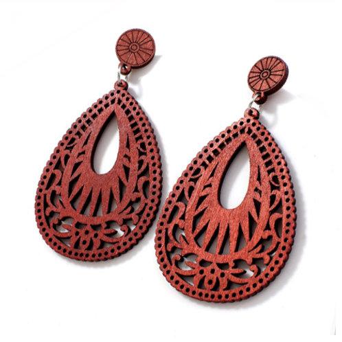 boho laser cut real wood teardrop earrings