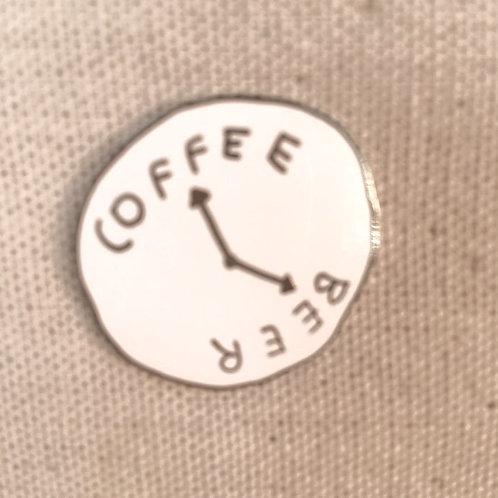 coffee vs. beer clock enamel pin