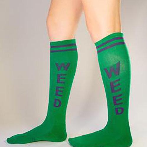green WEED striped knee socks