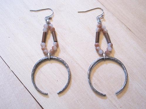 handmade boho natural stone beaded horn earrings