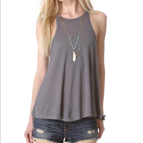free people gray ribbed high neck swing tank L