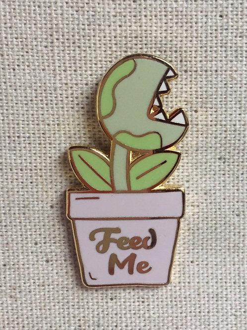 little shop of horrors feed me seymour plant enamel pin