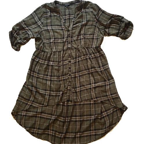 torrid green plaid babydoll button down blouse XXL