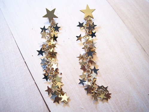gold catch a shooting star cluster long earrings