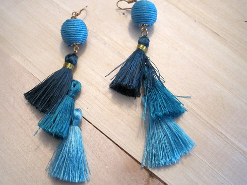 blue ombre thread ball and tassel boho earrings