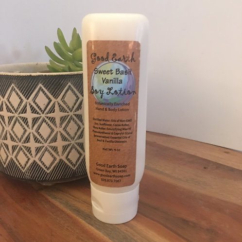 good earth SWEET BASIL VANILLA soy lotion
