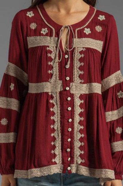 free people gauzy embroidered IRIS peasant blouse XS