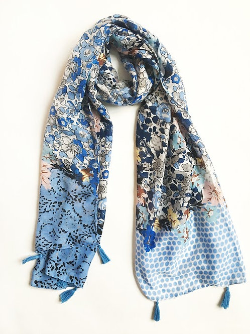 blue mixed media polka dot floral scarf with tassels