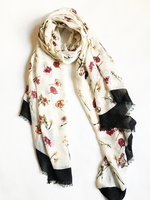 tiny floral print colorblock edge scarf