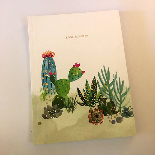 """looking sharp"" cactus foil printed notebook journal"