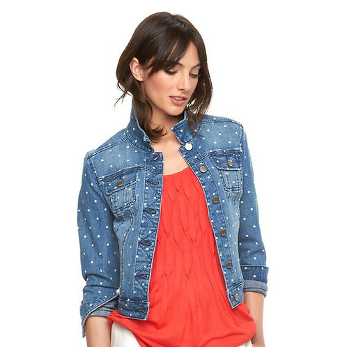 elle polka dot jean jacket as seen on Jane the Virgin! XL
