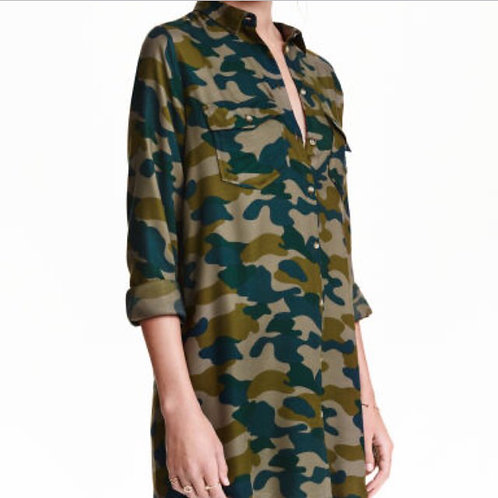 h&m camo button front shirt dress 8 M