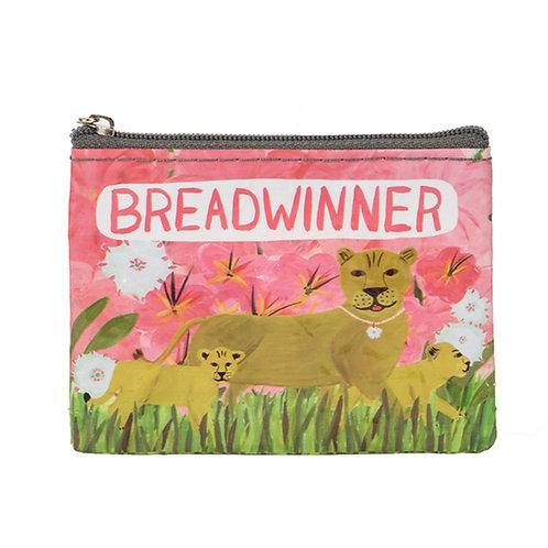 """breadwinner"" jungle cat zipper coin purse"
