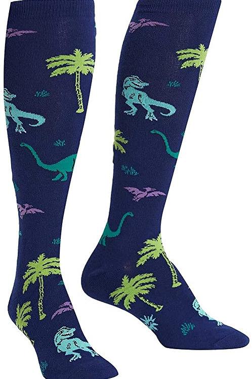 navy blue dinosaur party knee socks