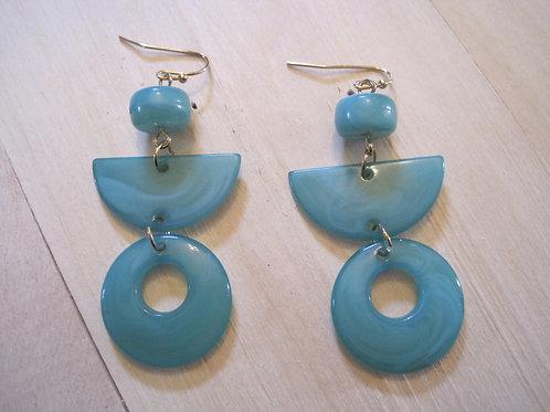 totally 80's geo stacked teal resin drop earrings
