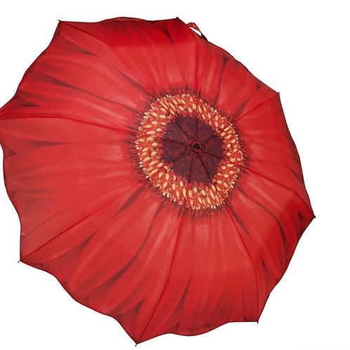 red gerber daisy foldable umbrella
