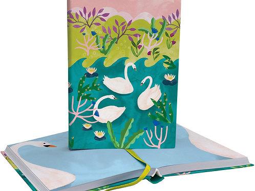 swan illustrated blank soft fabric journal