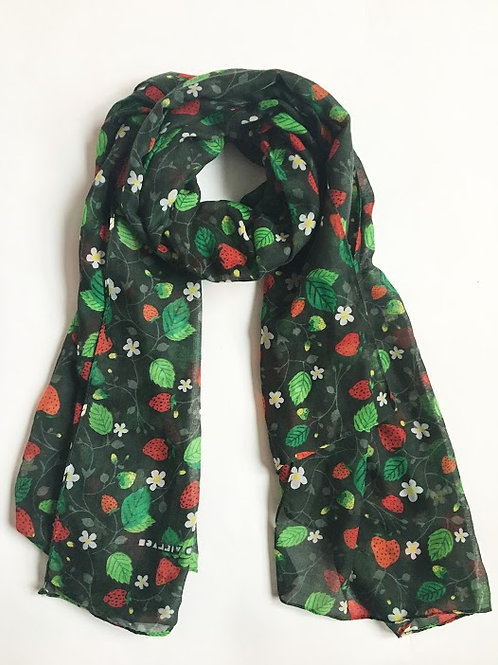 peaceful village strawberry fields print scarf