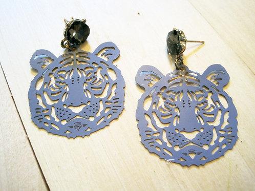 tiger queen! blue die-cut earrings