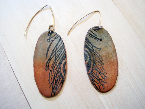 handmade leather peacock feather earrings