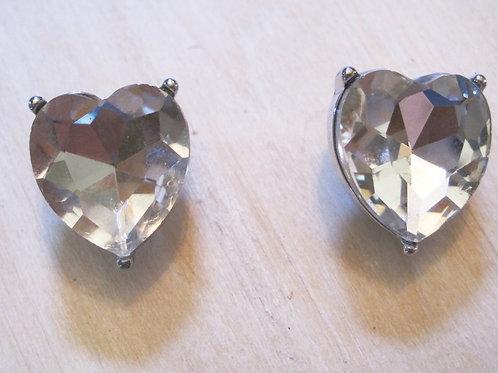 large diamond crystal HEART statement earrings