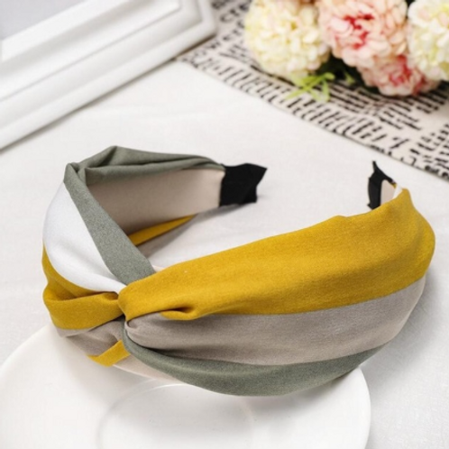 sage green/mustard/white stripe knotted headband